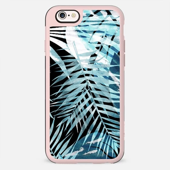 Blue watercolor painted tropical leaves - New Standard Case