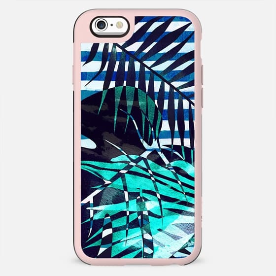 Tropical leaves and marine blue stripes - New Standard Case