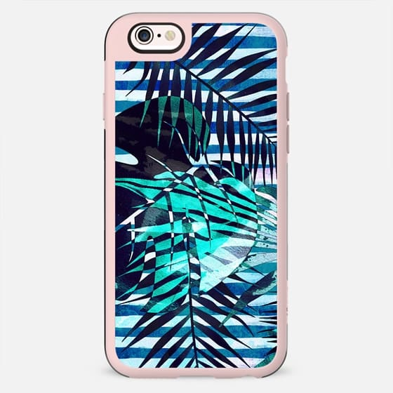 Tropical leaves and blue stripes - New Standard Case