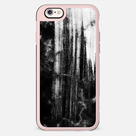 Black and white paint brushed marble - New Standard Case