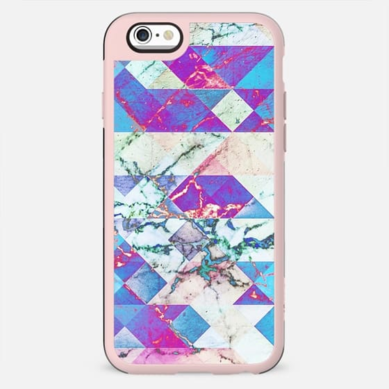 Blue magenta painted marble collage - New Standard Case