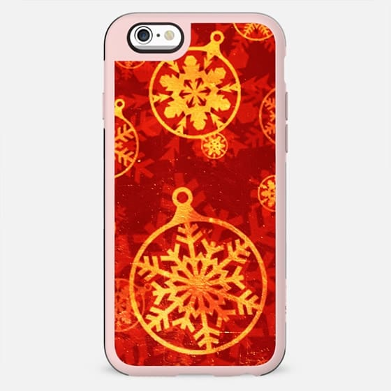 Rich red and golden Christmas snowflake globes - New Standard Case