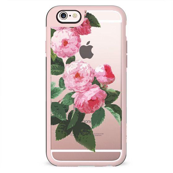 Pink rose botanical illustration clear case