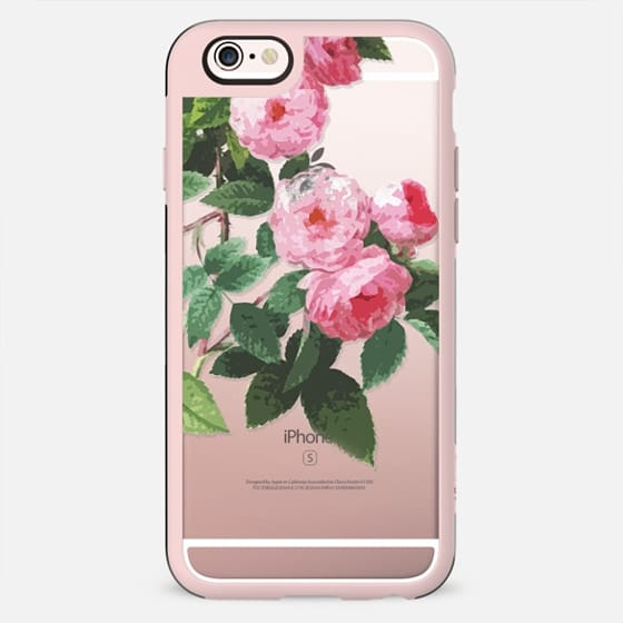 Pink rose illustration clear case
