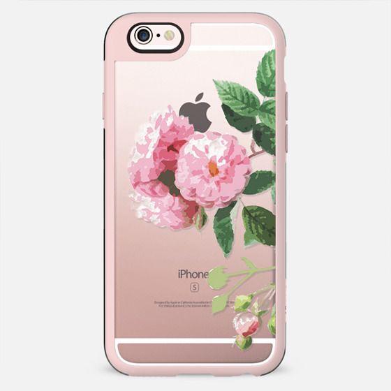 Pink rose botanical illustration clear case - New Standard Case