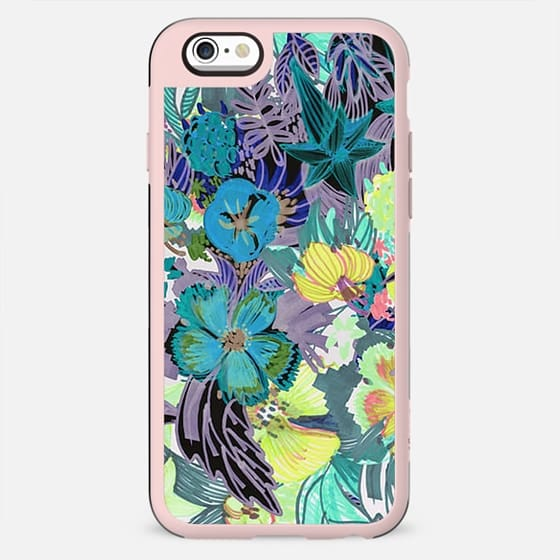 Colorful tropical flowers marker sketch - New Standard Case