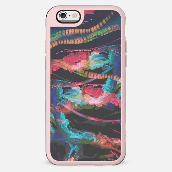Colorful jellyfish tentacles sealife abstract
