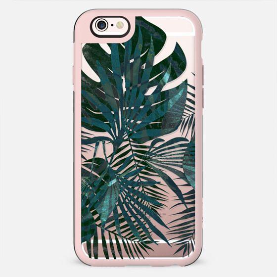 Metallic green tropical leaves