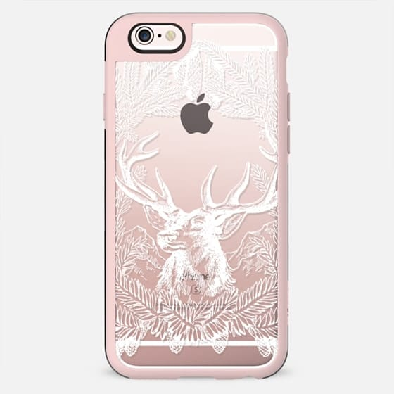 white deer line art and pine branches - New Standard Case