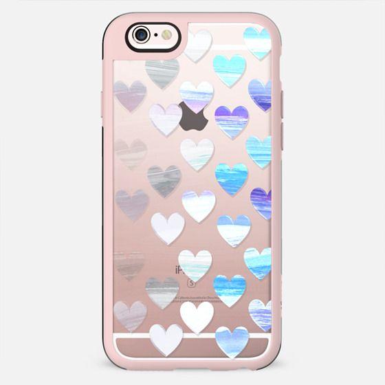 Transparent gradient white blue hearts