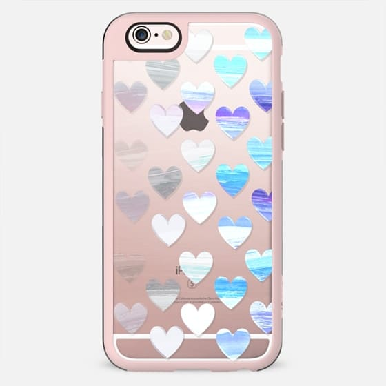 Transparent gradient white blue hearts - New Standard Case