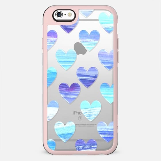 blue white gradient painted hearts clear - New Standard Case