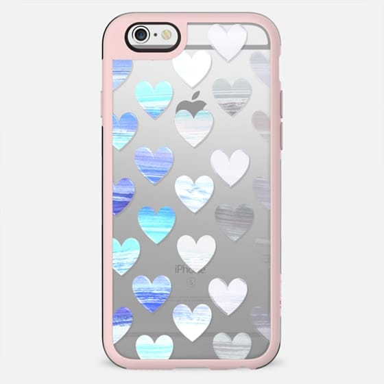 blue white gradient hearts watercolor painting - New Standard Case