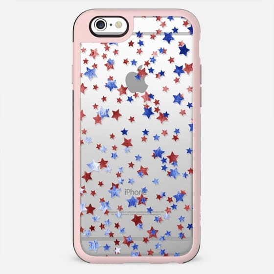 Blue and red copper stars clear