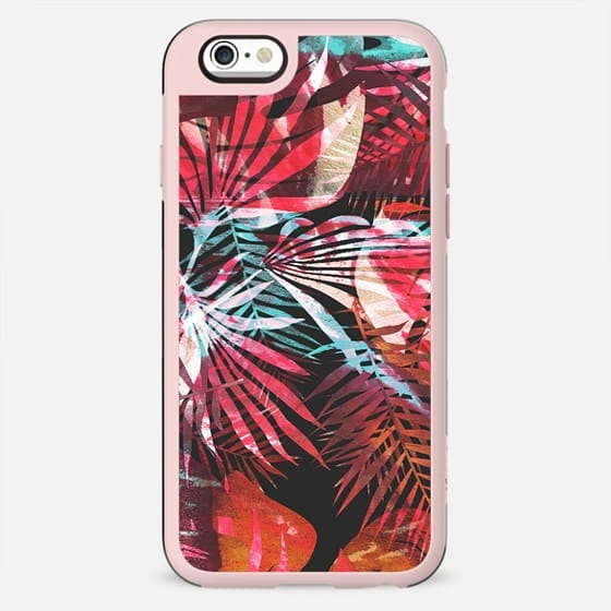 Painted vibrant tropical leaves