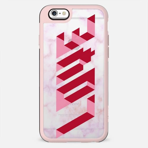 Pink Love 3D transparent marble - New Standard Case