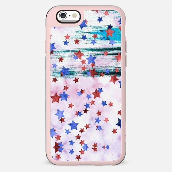 Painted metallic stars on pink marble - New Standard Case