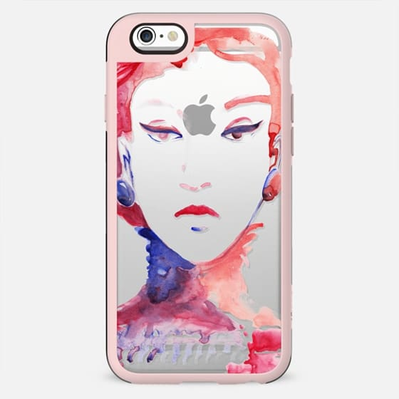 Red pink watercolor fashion sketch - New Standard Case