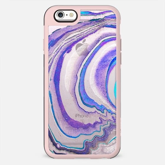 transparent blue purple marble lines - New Standard Case