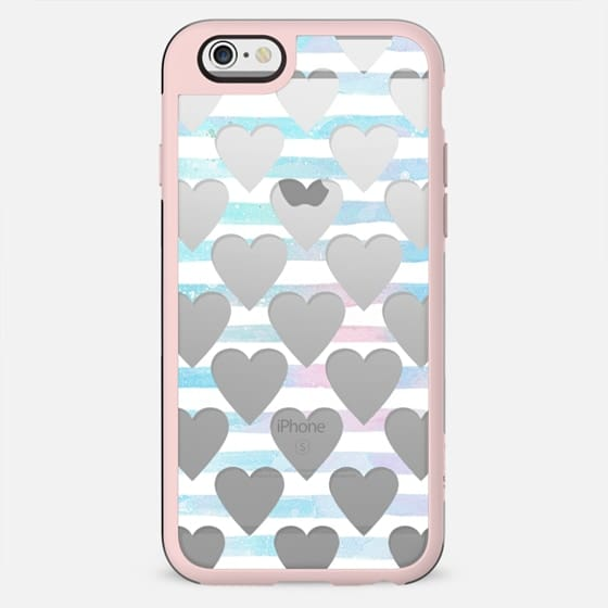 Hearts and blue stripes clear case