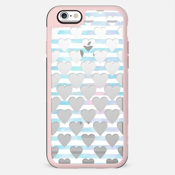 white blue stripes and cut out hearts - New Standard Case