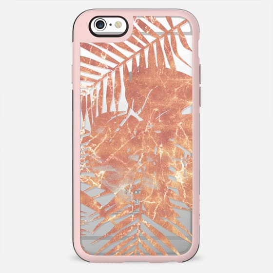 Golden Tropical leaves clear case