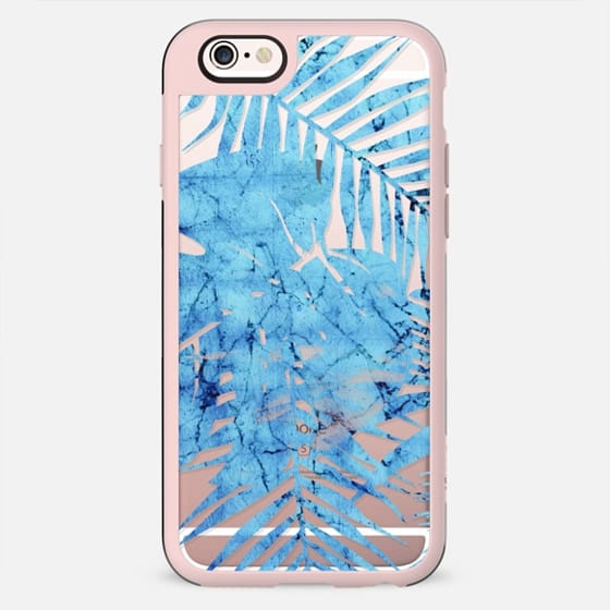 Blue marbling tropical leaves clear - New Standard Case