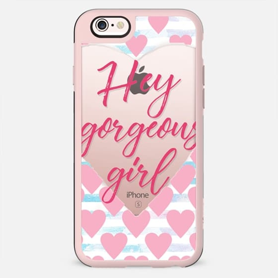 Hey gorgeous girl! white hearts and watercolor stripes - New Standard Case