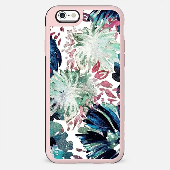 Pastel green tropical painted flowers I
