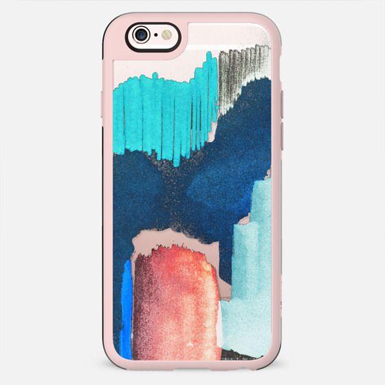 Abstract blue brushstroke doodles transparent - New Standard Case