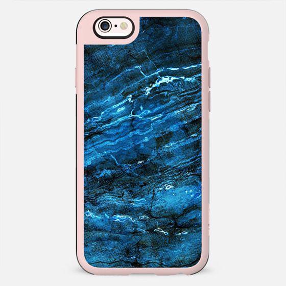 Minimal dark blue marble textured lines - New Standard Case