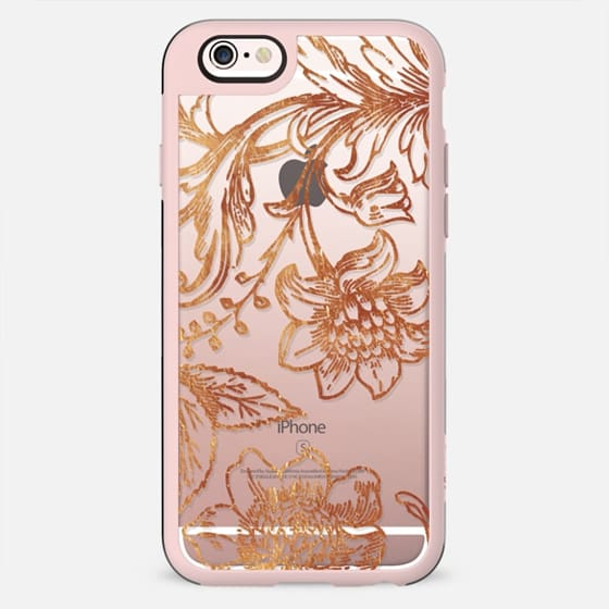 Golden flowers and foliage delicate illustration line art - New Standard Case