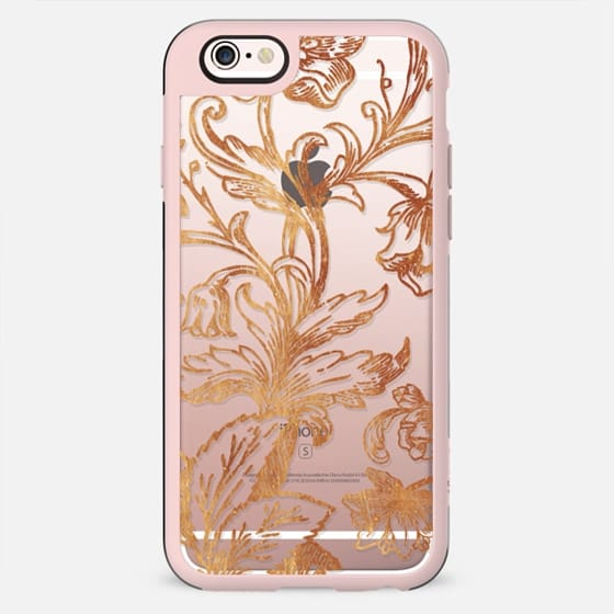 Golden flowers and foliage lace illustration clear case - New Standard Case