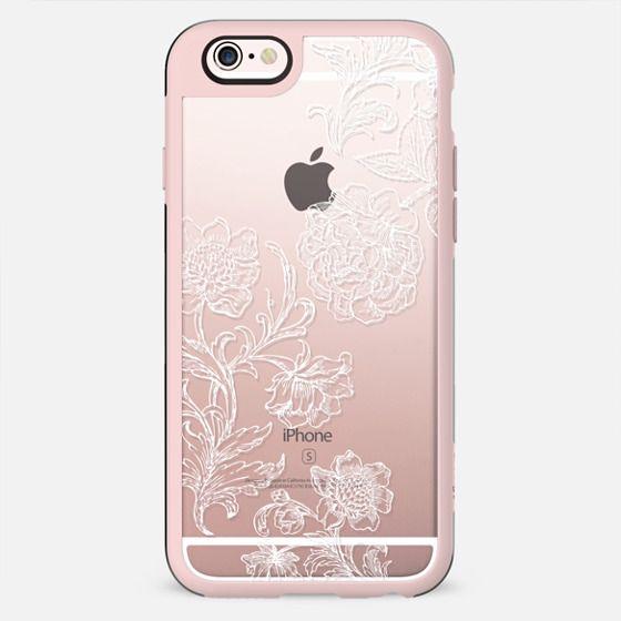 White floral line art lace clear case - New Standard Case