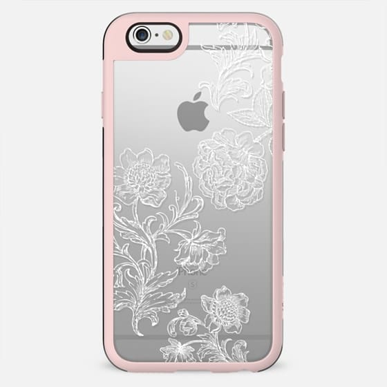 White flowers line art lace clear case