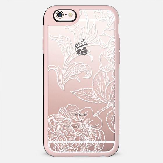 White flower line art lace clear case