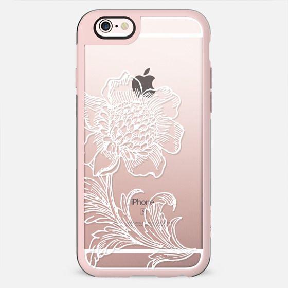 White subtle flower line art lace clear case