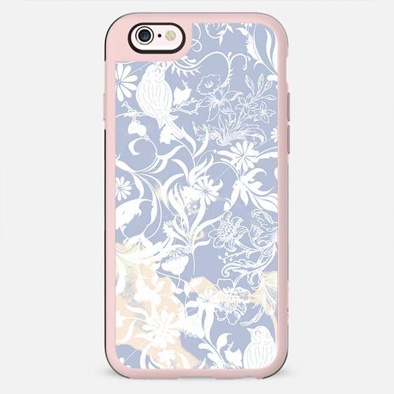Pastel blue white romantic foliage and birds illustration