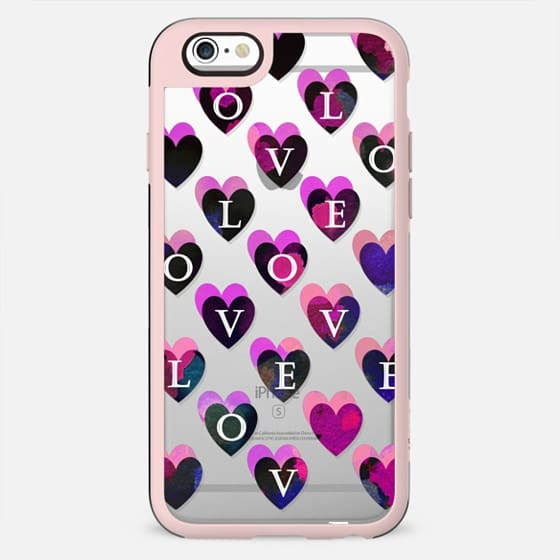 Love painted magenta hearts clear case - New Standard Case