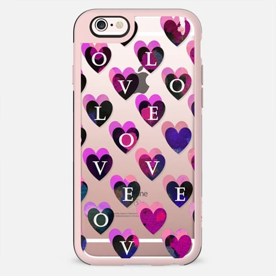 Love letters dark pink hearts clear - New Standard Case