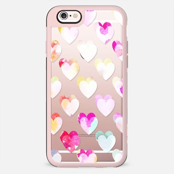 Pastel bright watercolor hearts clear