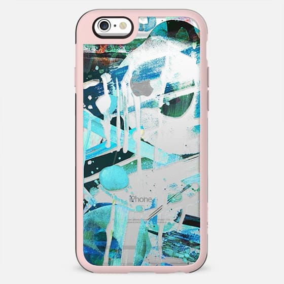 Blue splattered watercolor doodles clear case