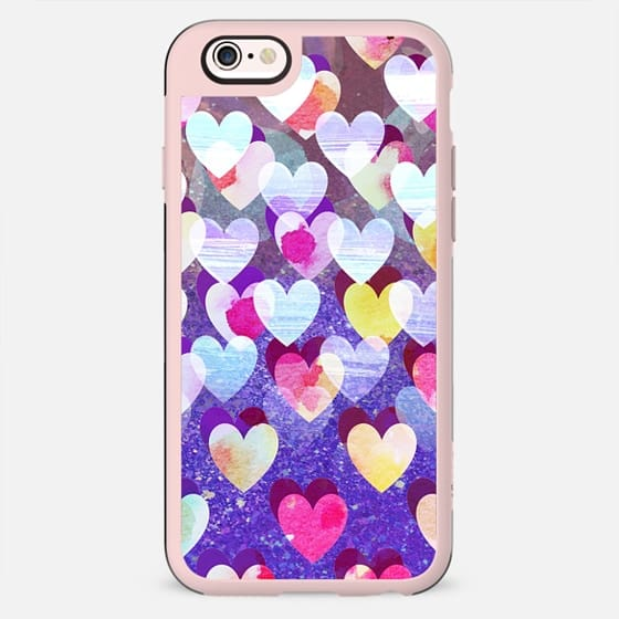 Colorful painted hearts and sparkles