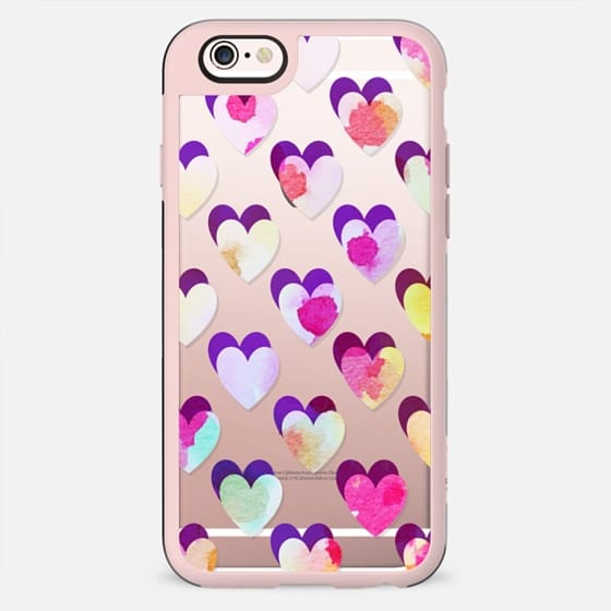 Colorful watercolor painted hearts pattern - New Standard Case