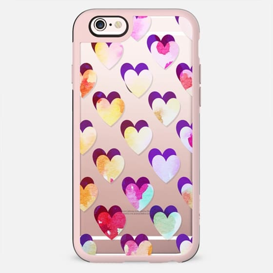 colorful watercolor hearts pattern clear