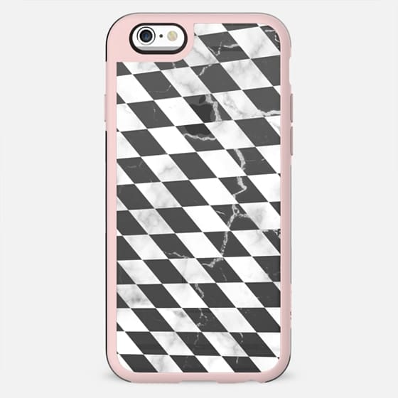 Black and white marble checks cracked transparent - New Standard Case