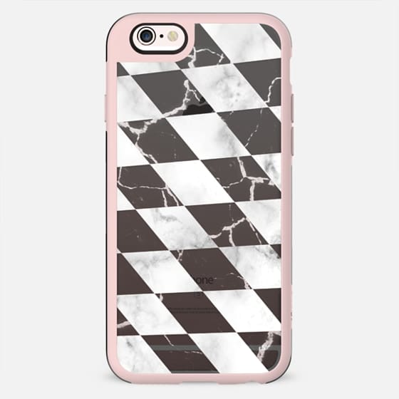 Black and white marble transparent black check - New Standard Case