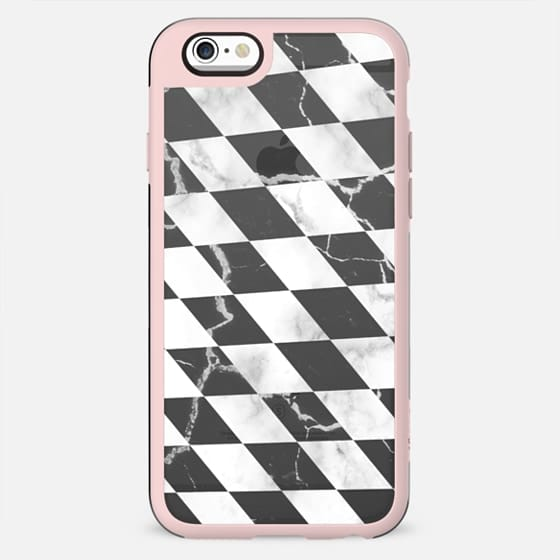 Transparent black and white marble checks pattern - New Standard Case