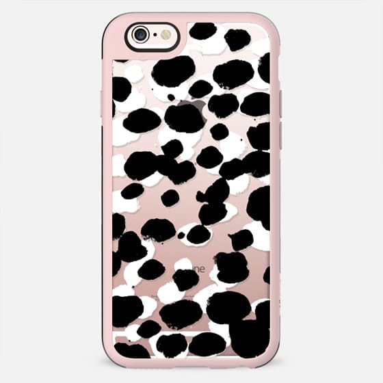Black and white paint spots clear case