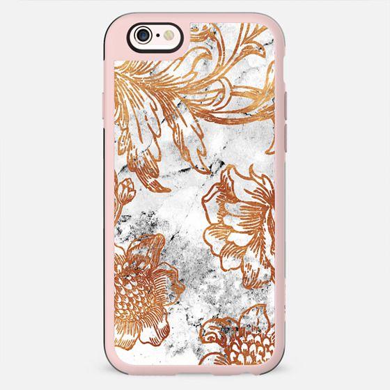 Golden line art flowers on white marble - New Standard Case